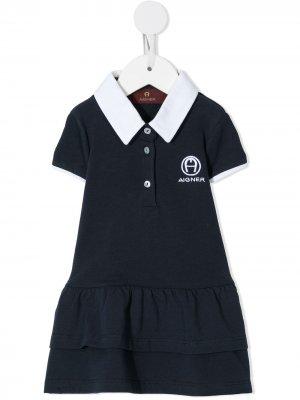 Ярусное платье поло Aigner Kids. Цвет: синий