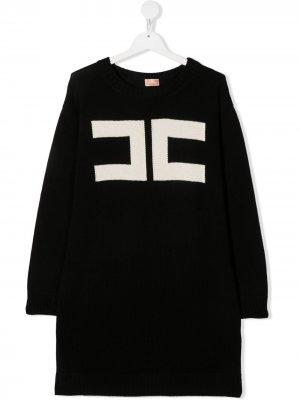 Платье-свитер с логотипом Elisabetta Franchi La Mia Bambina. Цвет: черный