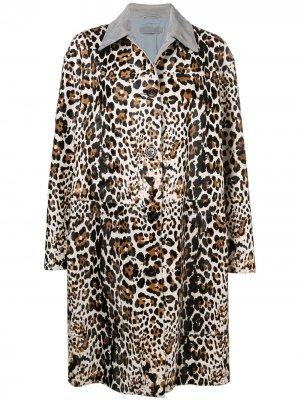 Пальто с леопардовым узором Bottega Veneta. Цвет: коричневый
