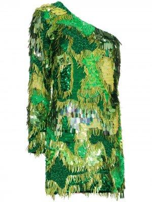 Платье мини асимметричного кроя с пайетками Ashish. Цвет: зеленый