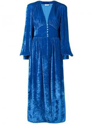 Бархатное платье-халат Attico. Цвет: синий