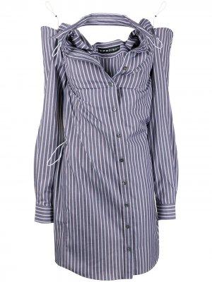 Платье-рубашка с вырезами Y/Project. Цвет: серый