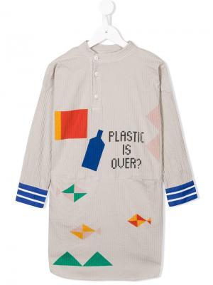 Платье-рубашка с воротником мандарин Bobo Choses. Цвет: нейтральные цвета