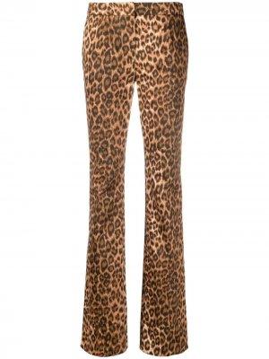 Расклешенные брюки с леопардовым принтом Blumarine. Цвет: коричневый