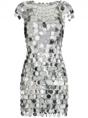 Платье мини с пайетками и цепочками Paco Rabanne. Цвет: золотистый
