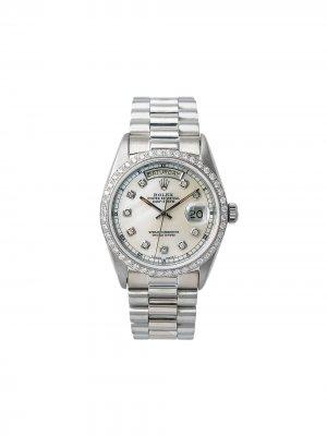 Наручные часы Day-Date pre-owned 39 мм 2000-х годов Rolex. Цвет: белый