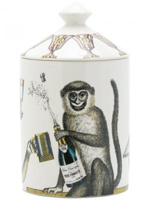 Свеча в стакане с принтом обезьяны Fornasetti. Цвет: разноцветный