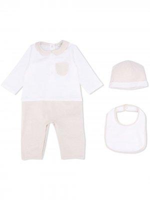 Комплект из комбинезона, шапки и нагрудника с логотипом FF Fendi Kids. Цвет: белый