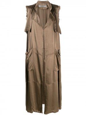 Куртка без рукавов с эффектом потертости Raquel Allegra. Цвет: зеленый