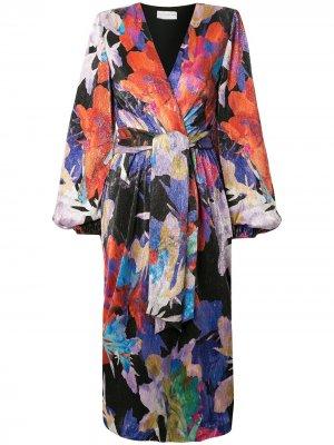 Платье миди Belladonna с завязками и принтом Rebecca Vallance. Цвет: разноцветный