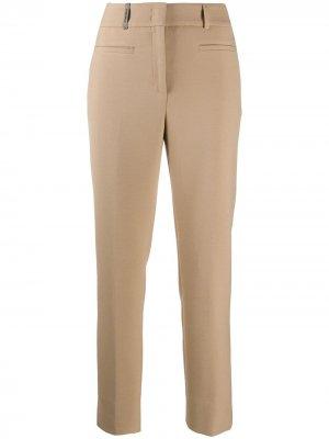 Укороченные брюки кроя слим с завышенной талией Peserico. Цвет: нейтральные цвета