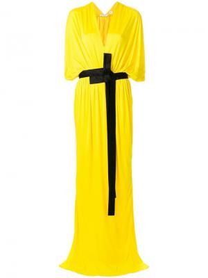 Драпированное платье с глубоким вырезом Vionnet. Цвет: желтый