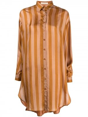 Длинная рубашка в полоску Mes Demoiselles. Цвет: оранжевый