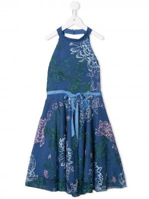 Платье Ivana с цветочной вышивкой MARCHESA NOTTE MINI. Цвет: синий