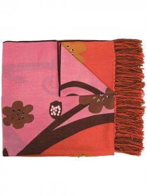 Шарф с бахромой и цветочным принтом Altea. Цвет: красный