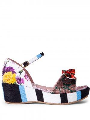 Босоножки с принтом Dolce & Gabbana Kids. Цвет: синий