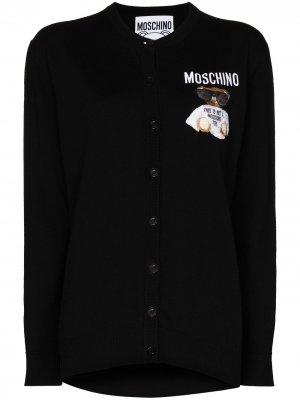 Кардиган с вышивкой Moschino. Цвет: черный