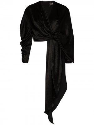Присборенный топ с запахом и завязками A.W.A.K.E. Mode. Цвет: черный