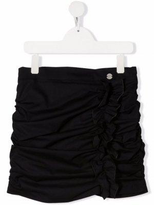 Юбка мини со сборками Miss Blumarine. Цвет: черный