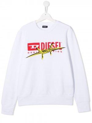Толстовка с нашивкой-логотипом Diesel Kids. Цвет: белый