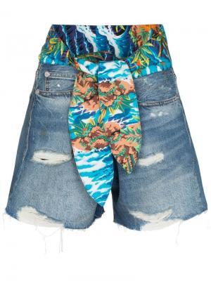 Джинсовые шорты Jasper с завязкой на поясе R13. Цвет: синий
