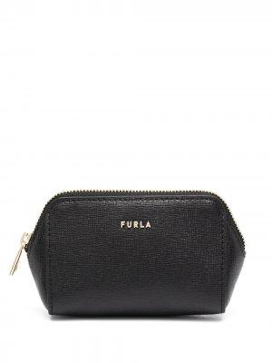 Косметичка с логотипом Furla. Цвет: черный