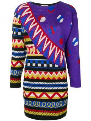Вязаное платье в полоску Kansai Yamamoto Vintage. Цвет: разноцветный