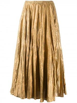 Платье миди из ткани ламе Mes Demoiselles. Цвет: золотистый
