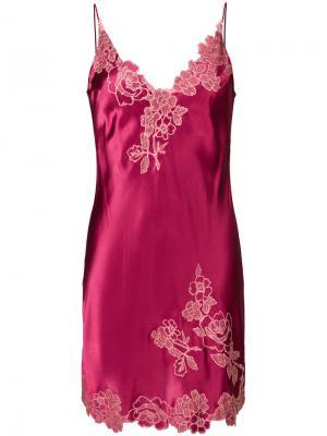 Сорочка с кружевной отделкой Carine Gilson. Цвет: розовый и фиолетовый