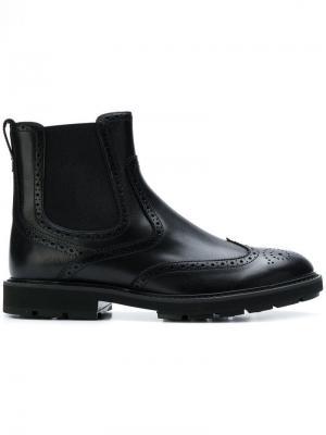 Ботинки-челси в стилистике брогов Tod's. Цвет: черный