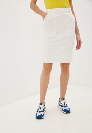 Юбка джинсовая United Colors of Benetton. Цвет: белый