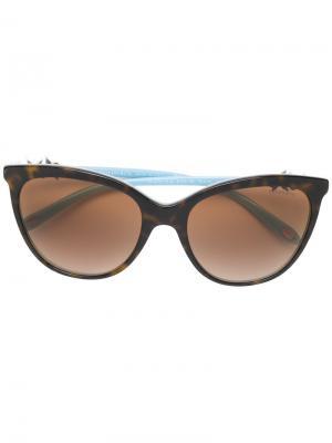 Солнцезащитные очки кошачий глаз с черепаховым узором Tiffany & Co.. Цвет: коричневый