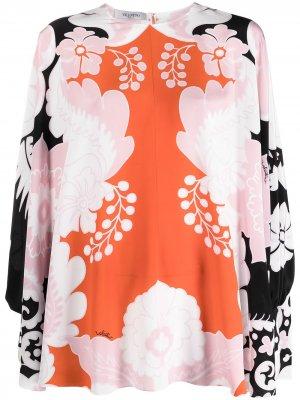 Блузка-кейп с цветочным принтом Valentino. Цвет: оранжевый