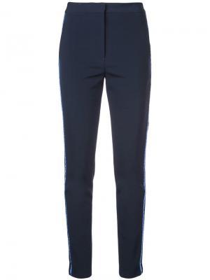 Зауженные брюки с полосками Yigal Azrouel. Цвет: синий