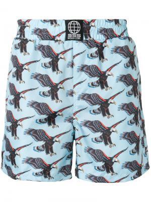 Пляжные шорты с принтом орла Sss World Corp. Цвет: синий