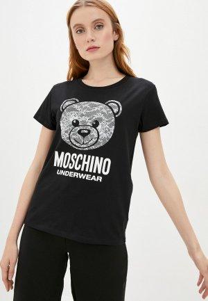 Футболка домашняя Moschino Underwear. Цвет: черный