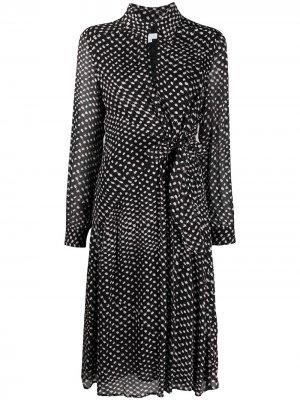Платье миди в мелкую точку с запахом Lala Berlin. Цвет: черный