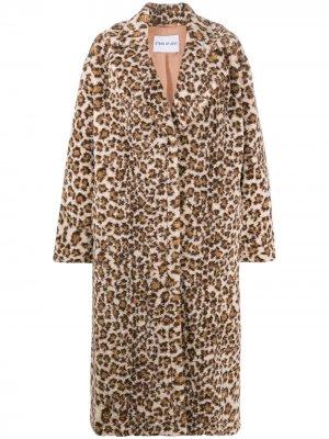 Однобортная шуба с леопардовым принтом STAND STUDIO. Цвет: коричневый
