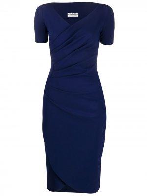 Платье Ajak с V-образным вырезом Le Petite Robe Di Chiara Boni. Цвет: синий