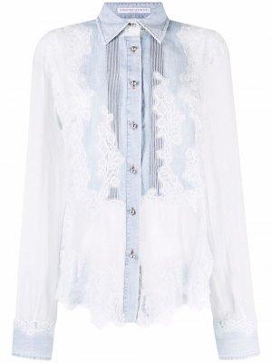 Кружевная блузка с вышивкой Ermanno Scervino. Цвет: синий