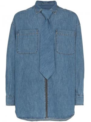 e9104ae8295708c Джинсовая рубашка на молнии со съемным галстуком Diesel Red Tag. Цвет: синий