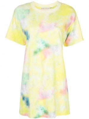 Платье-футболка Garner с принтом тай-дай Alice+Olivia. Цвет: разноцветный