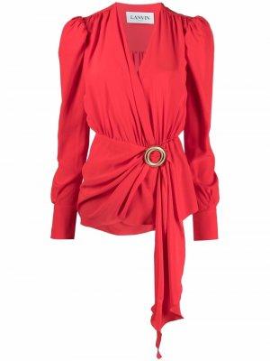 Блузка с драпировкой LANVIN. Цвет: красный