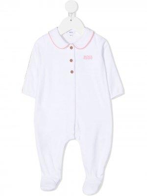 Боди с контрастной отдеткой и длинными рукавами BOSS Kidswear. Цвет: белый