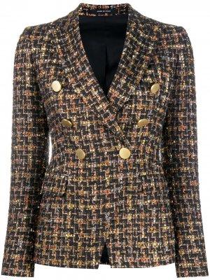Двубортный твидовый пиджак Tagliatore. Цвет: черный