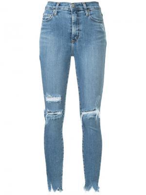 Укороченные джинсы скинни Siren Nobody Denim. Цвет: синий