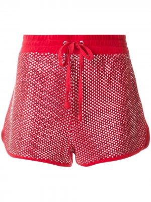 Велюровые шорты с кристаллами Swarovski Juicy Couture. Цвет: красный