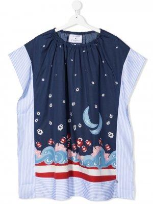 Платье в тонкую полоску с графичным принтом Simonetta. Цвет: синий