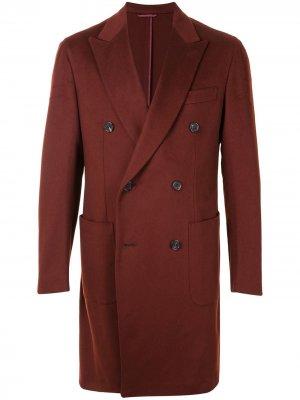 Двубортное пальто Brioni. Цвет: красный