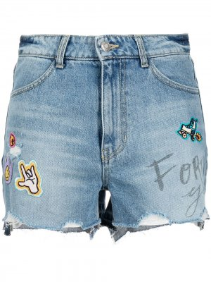 Джинсовые шорты с нашивками SJYP. Цвет: синий